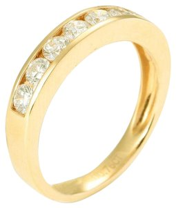 M&J 14K Yellow Gold Line Diamonds Ring