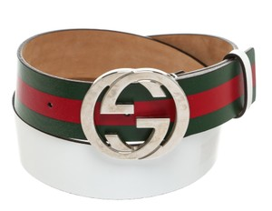 Gucci Gucci White Multicolor Leather Silver GG Belt (Size 36)