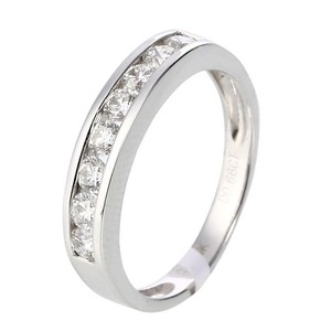 14K White Gold Line Diamonds Ring