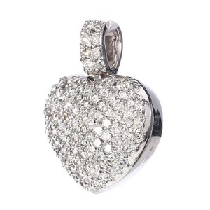 M&J 14K White Gold Diamonds Heart Pendant
