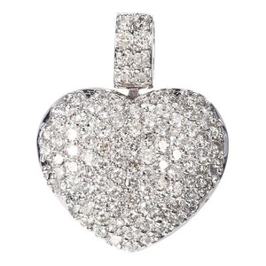 14K White Gold Diamonds Heart Pendant