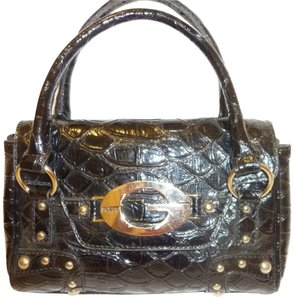 Guess Patent Leather Euc Lined Satchel in Black