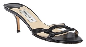 Jimmy Choo Leather Slide Heel Black Sandals