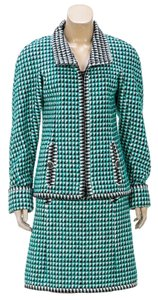 Chanel Chanel Green Multicolor Tweed Jacket and Skirt Suit (Size 36)