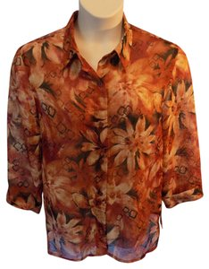 Alfred Dunner Floral 3/4 Sleeve Semi-sheer Top Multi-Colored