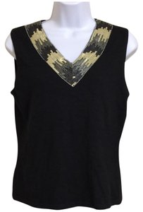 Jones New York Sequin V-neck Sleeveless Sweater