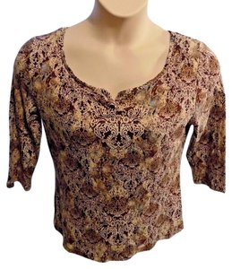 Liz Claiborne Stretchy Scoop Neckline T Shirt Brown