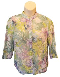 Alfred Dunner Casual 3/4 Sleeve Floral Burnout Mandarin Collar Top Multi-Colored