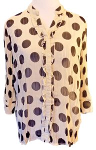 Fred David 3/4 Sleeve Semi-sheer Button Front Polka Dot Career Top Black and White