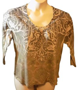 Jane Ashley 3/4 Sleeve Stretchy Pullover Top Brown