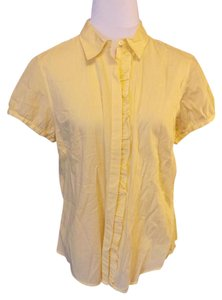 Talbots Casual Pinstripe Cotton Button Down Shirt Yellow