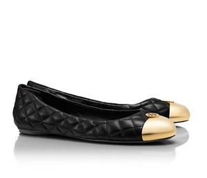 Tory Burch Quilted Leather Ballet Cap Toe Black gold Flats
