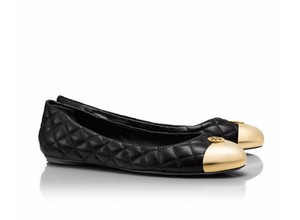 Tory Burch Quilted Leather Ballet Flat Black gold Flats