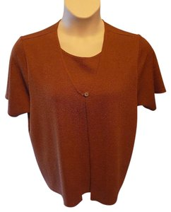 Sag Harbor Pullover Stretchy Twofer Top Brown