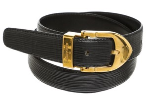 Louis Vuitton Louis Vuitton Black Epi Leather Gold Buckle Belt (Size 28