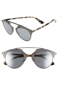 Dior So Real 48mm Mirrored Sunglasses Ruthenio Havana/Grey Silver Mirror