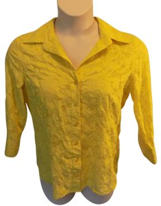 Peck & Peck Solid Casual Cotton Button Down Shirt Yellow