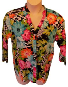 Alfred Dunner Mandarin Collar Tropical Floral Cotton Casual Button Down Shirt Multi-Colored