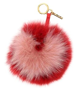 Fendi Chinese New Year Special Bicolor Heart Fox Fur Pon Pon Key Chain Charm