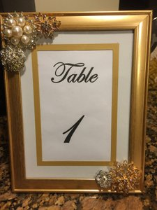 Gold Wedding Table Number Frames