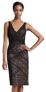 Monique Lhuillier V-neck Lace Sheath Dress