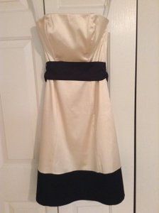 Coast Ivory And Black Ivory And Black Satin Strapless Dresss Dress