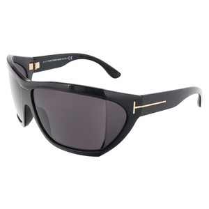 Tom Ford Tom Ford Shiny Black Oversized Wrap Sunglasses