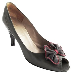 Dior Christian Leather Bow Peep Toe France Gray and Red Pumps
