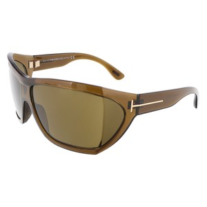 Tom Ford Tom Ford Shiny Brown Oversized Wrap Sunglasses