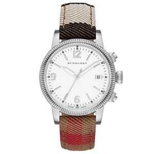 Burberry NWT Women's Utilitarian Stainless Steel Plaid Check Band Watch