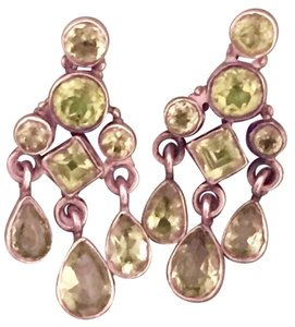 Peridot and sterling silver vintage drop earrings