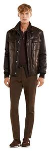 Gucci Men's Hooded Brown Leather Jacket