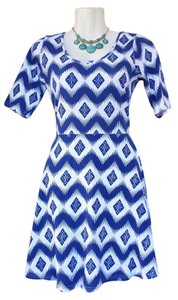 Bongo short dress blue, white Chevron Quarter Sleeves on Tradesy