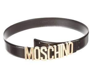 Moschino Black leather Moschino belt with gold-tone buckle S Small