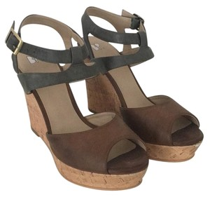 BP. Clothing Green and Brown leather Wedges