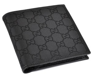 Gucci GUCCI Men's 150413 Black Canvas GG Guccissima Coin Bifold Wallet