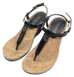 Ralph Lauren New Cork Wedge Navy Sandals
