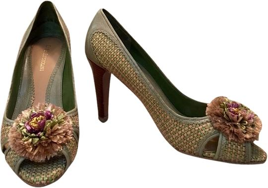 Enzo Angiolini Green Biege Pumps