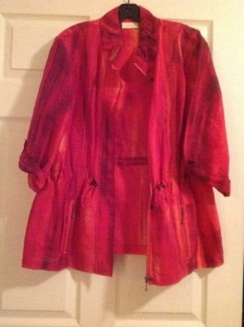 Chico's Variegated 3/4 Length Sleeves Hot pink Jacket