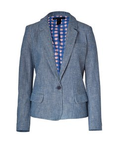 Marc by Marc Jacobs Dark Sea Blue Cotton Corey Chambray Blazer by MARC BY MARC JACOBS