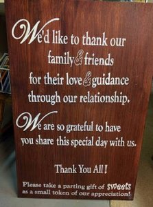 Wooden Wedding Sign - Thank You