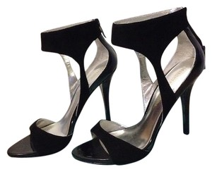 Guess By Marciano Suede Zipper Heel Ankle Strap Black Sandals