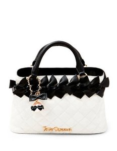 Betsey Johnson Family Ties Satchel in Black/White