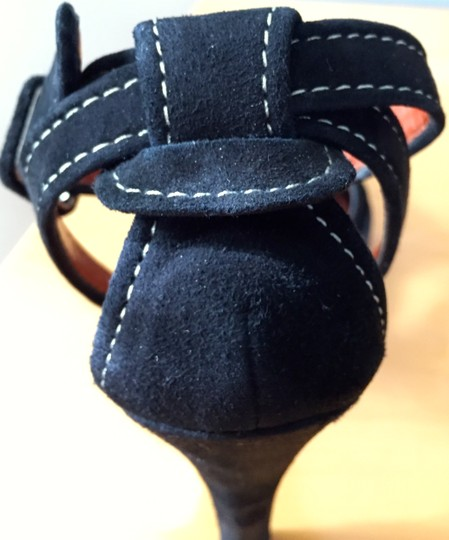 Paolo Ankle Strap Contrast Stitching Black Suede Pumps