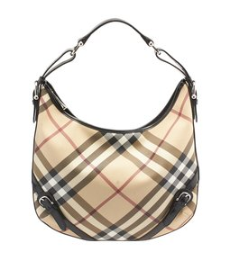 Burberry Nova Check Coated Canvas Hobo Bag