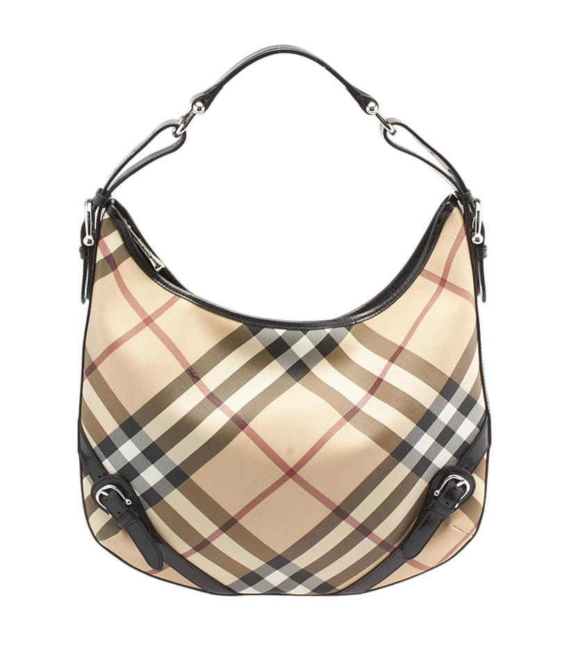 06ce460ad5 Burberry Nova Check & Black Leather (100715) Tan Coated Canvas Hobo ...