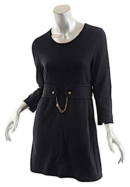 Item - Black L W Cashmere/Cotton Tunic Sweater/Dress W/Faux Belt- Above Knee Short Casual Dress Size 12 (L)