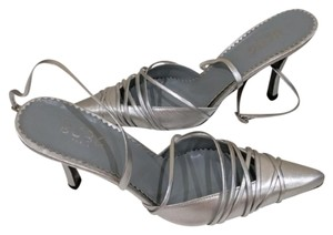 BCBGMAXAZRIA Gilly Strappy Ankle Strap Silver Pumps