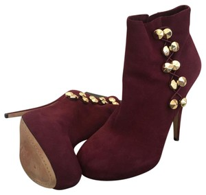 Vince Camuto Suede Leather Gold Hardware Burgundy Boots