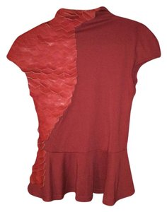 Gracia Peplum Faux Leather Top Red